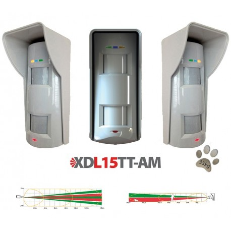 XDL15TT-AM Sensore da esterno tripla tecnologia con antimaskeramento pet immune 25Kg rilevazione a tenda